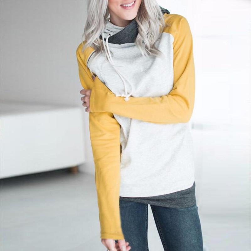 elsvios 2017 double hood hoodies sweatshirt women autumn long sleeve side zipper hooded casual patchwork hoodies pullover femme ELSVIOS 2017  hoodies, Autumn Long Sleeve HTB108NGaWagSKJjy0Fgq6ARqFXay