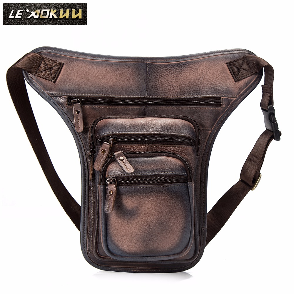 Original Leather Men Design Casual 8 Tablet Messenger Bag Fashion Multifunction Travel Waist Belt Pack Drop