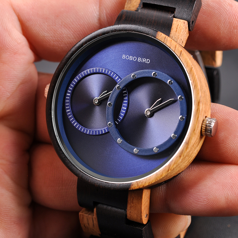 BOBO BIRD Ultra Thin Men Watch Original Wood Watches 2 Time Zone Display Quartz Wristwatch horloges mannen