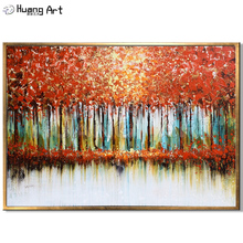 Original Art Handmade Modern Orange Tree Wall Oil Painting on Canvas Hand-Painted Autumn Landscape for Room Decor