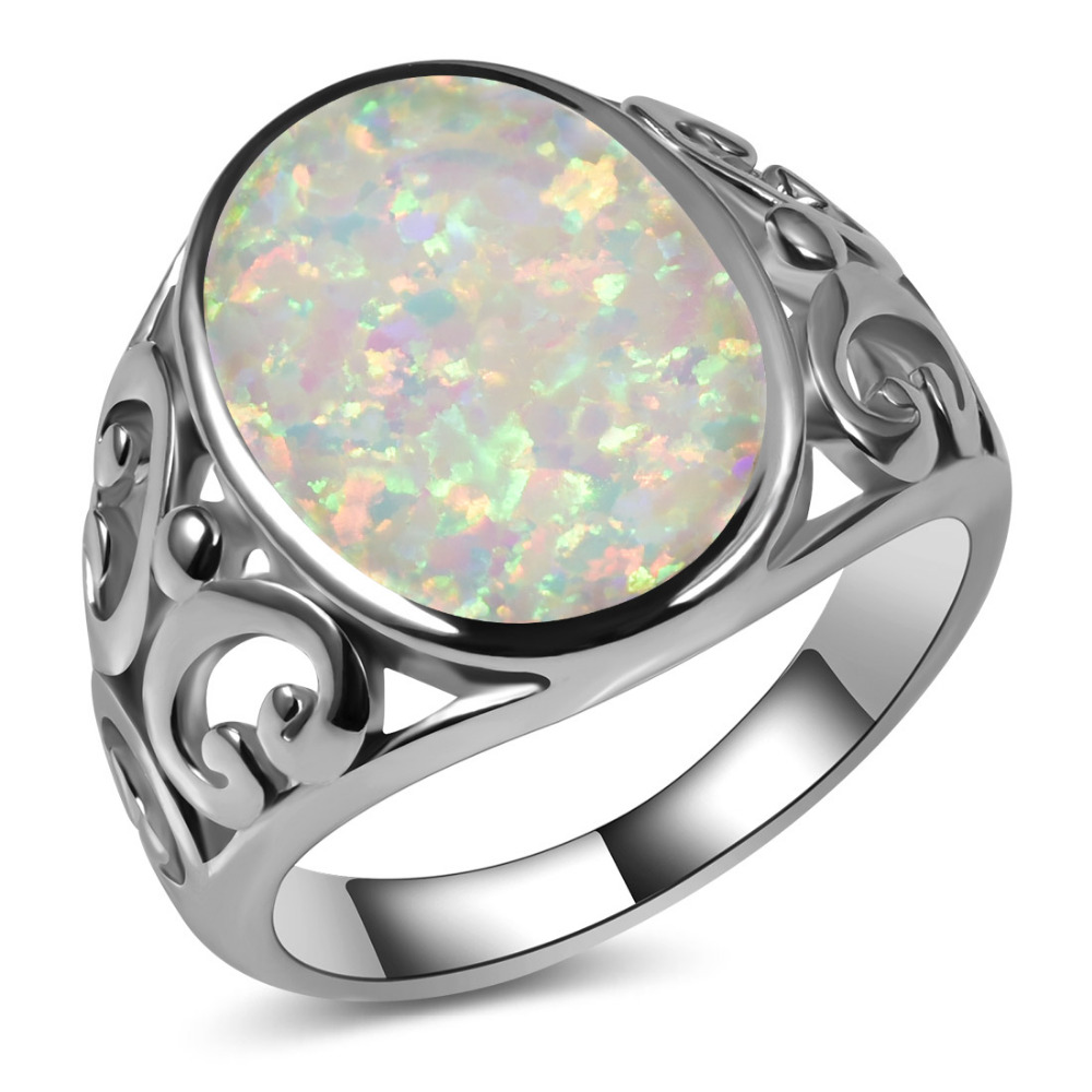 Hot Sale Exquisite White Fire Opal 925 Sterling Silver High Quantity Engagement Wedding Ring Size 5