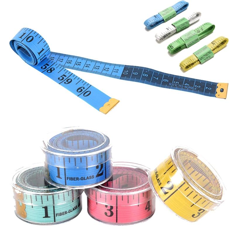 """Quente 150cm/60 """"régua de medição do corpo costura medida de fita de costura costurada suave plana régua medidor de costura fita de medição cor aleatória"""