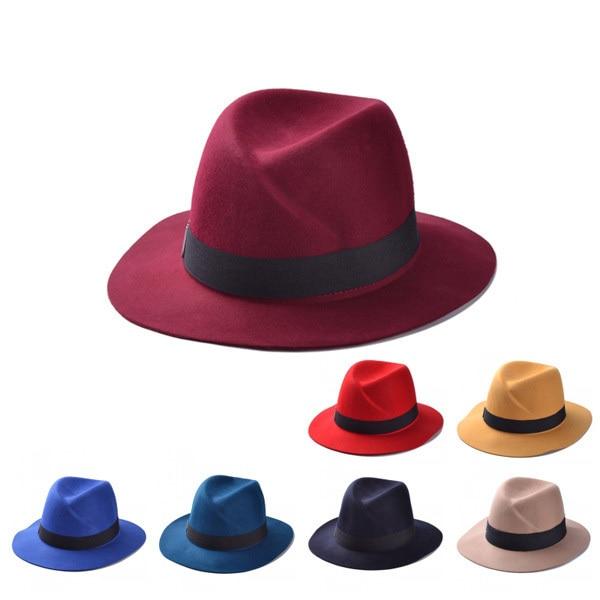 3e30b415f500d women winter fashion fedora stetson hats letter M chapeu vintage design  jazz trilby woolen cap