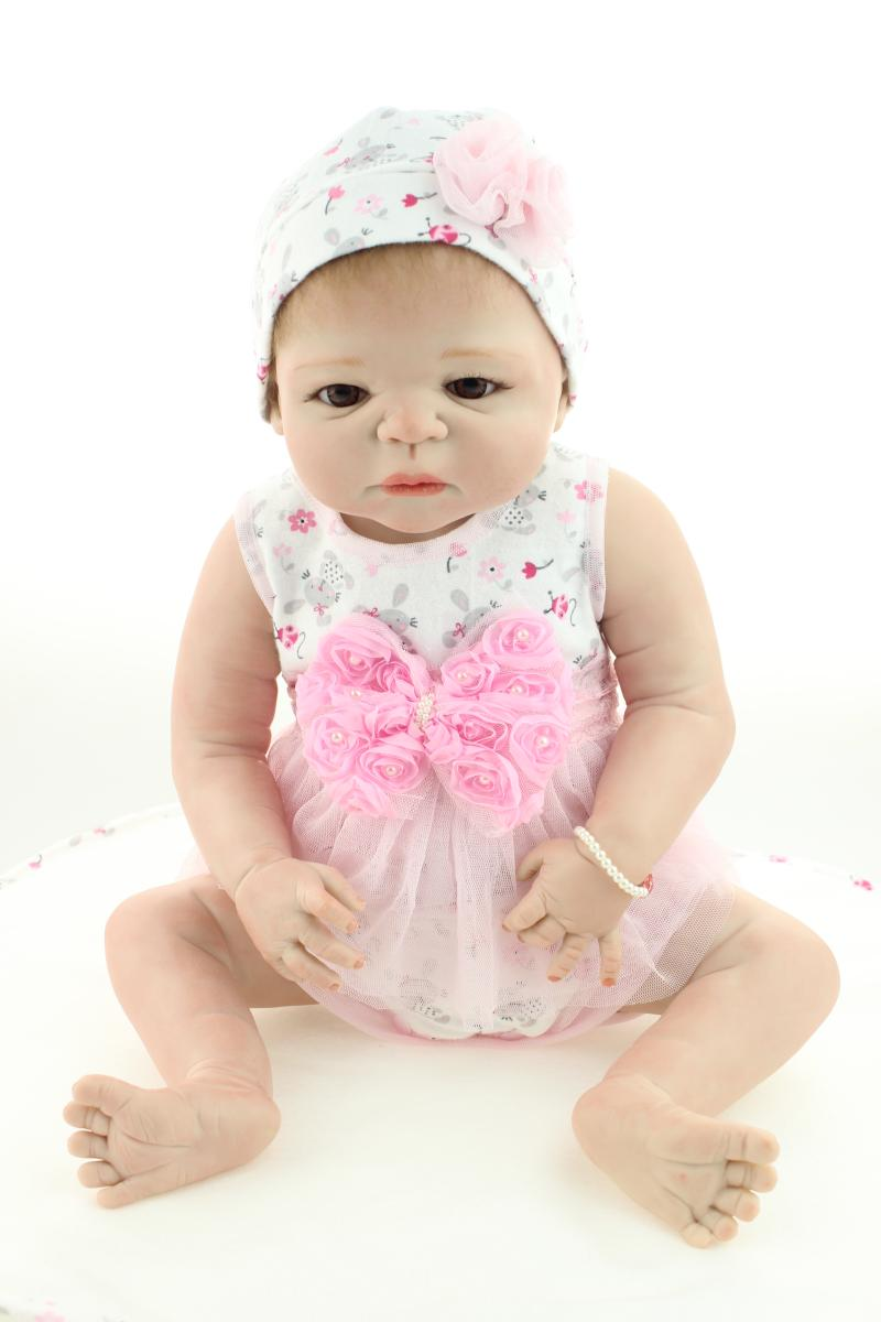 23inch Full Silicone Reborn Baby Doll lifelike Newborn Girl Baby dolls Rooted Mohair 100% Handmade Doll Xmas Gift Free Shipping handmade 22 inch newborn baby girl doll lifelike reborn silicone baby dolls wearing pink dress kids birthday xmas gift