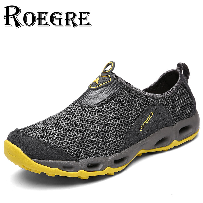 ФОТО ROEGRE 2017 Summer Fashion Men Mesh Casual Shoes Slip On Breathable Comfortable Men Outdoor Trainers Blue Black Grey Beach Shoes