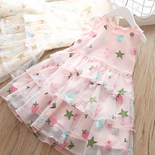 Baby Summer Dress For Girl Kids Sleeveless Clothes Children Girls Floral Princess Wedding Party School Elegant Dresses 3 Years недорого
