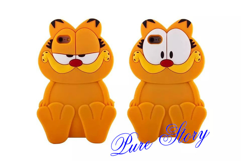 Fashion 3D Cute Silicone Rubber Cartoon Garfield Cat Phone Case ... 7e5bb413d1