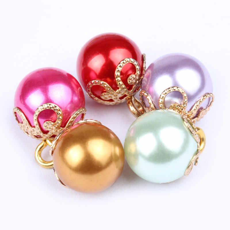10 Stks Candy kleur Golden Hoge Kroon Bodem Parel Shirt Knoppen Metalen Parel Knoppen Cheongsam, hoeden, schoenen, truien Kledingstuk