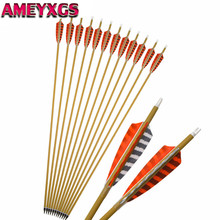 6/12Pcs 30 Spine 500 Archery Pure Carbon Arrows 4 Turkey Feather Arrow Broadheads For Bow Hunting Shooting Accessories