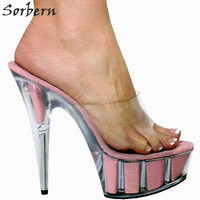 Sorbern Glitter Clear High Heels Slippers Women Outdoor Slides Ladies Pvc Upper Open Toe Shoes Custom Colors Chinese Size 35 46