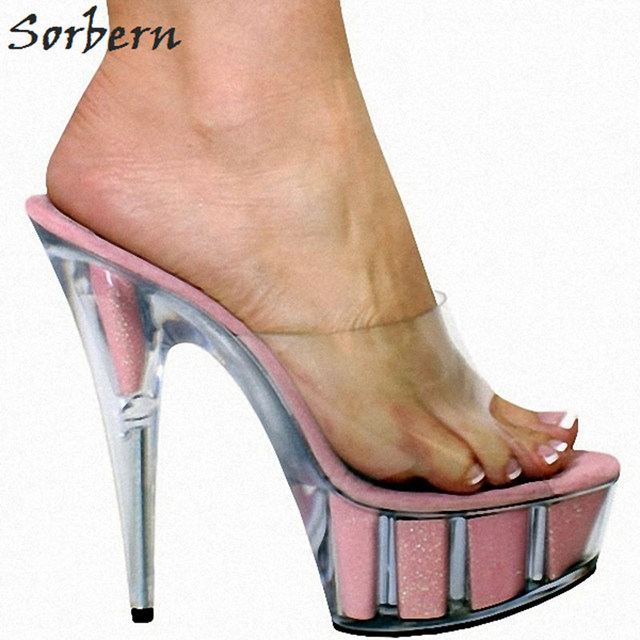 870488af1 Sorbern Glitter Clear High Heels Slippers Women Outdoor Slides Ladies Pvc  Upper Open Toe Shoes Custom Colors Chinese Size 35-46