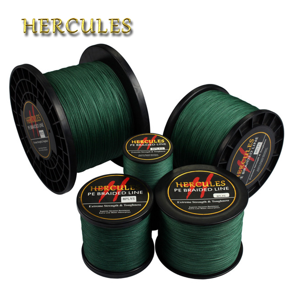 Hercules Braided Fishing Line 8 Strands Green 100M 300M 500M 1000M 1500M 2000M Saltwater Fishing Cord linha multifilamento 8 fio цена