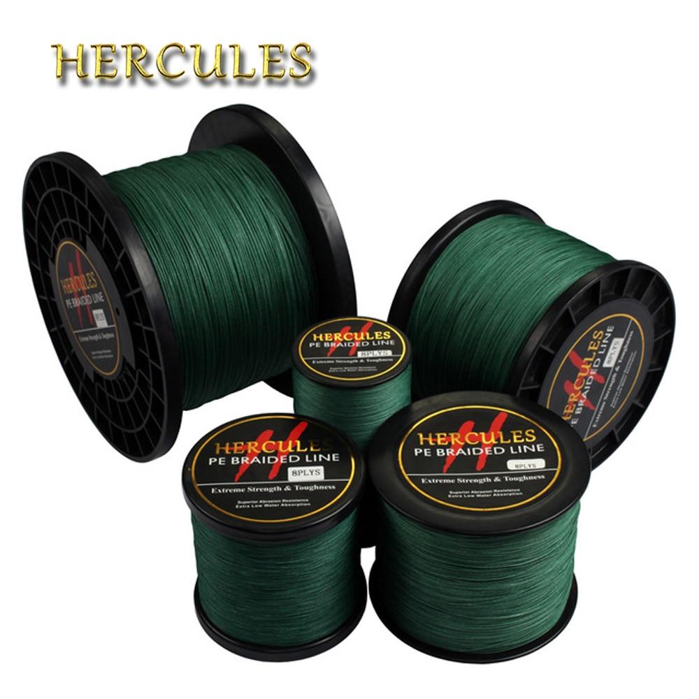 Hercules Braided Fishing Line 8 Strands Green 100M 300M 500M 1000M 1500M 2000M Saltwater Fishing Cord Linha Multifilamento 8 Fio