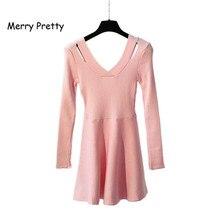 Merry довольно новый Для женщин вязаное платье v-образным вырезом трапециевидной формы с длинным рукавом милые однотонные пуловер Женский осень розовый Платья-свитеры