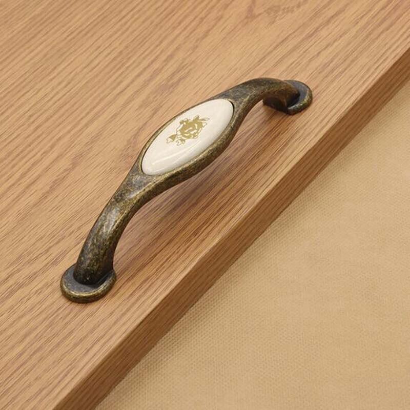128mm kitchen cabinet handles ceramic cupboard pull antique brass bronze dresser wardrobe vintage furniture handles knob