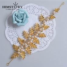 Soft Chain Gold Leaf Pearl Bridal Hair Accessoreis Bridal Wedding Hair Crown Bride Jewelry Accessories Party Decoration