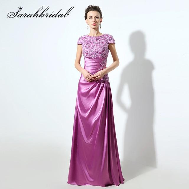 Púrpura encaje Formal vestido de noche de lujo cristales largo vestido de  baile manga corta mujeres c46a280e7f11