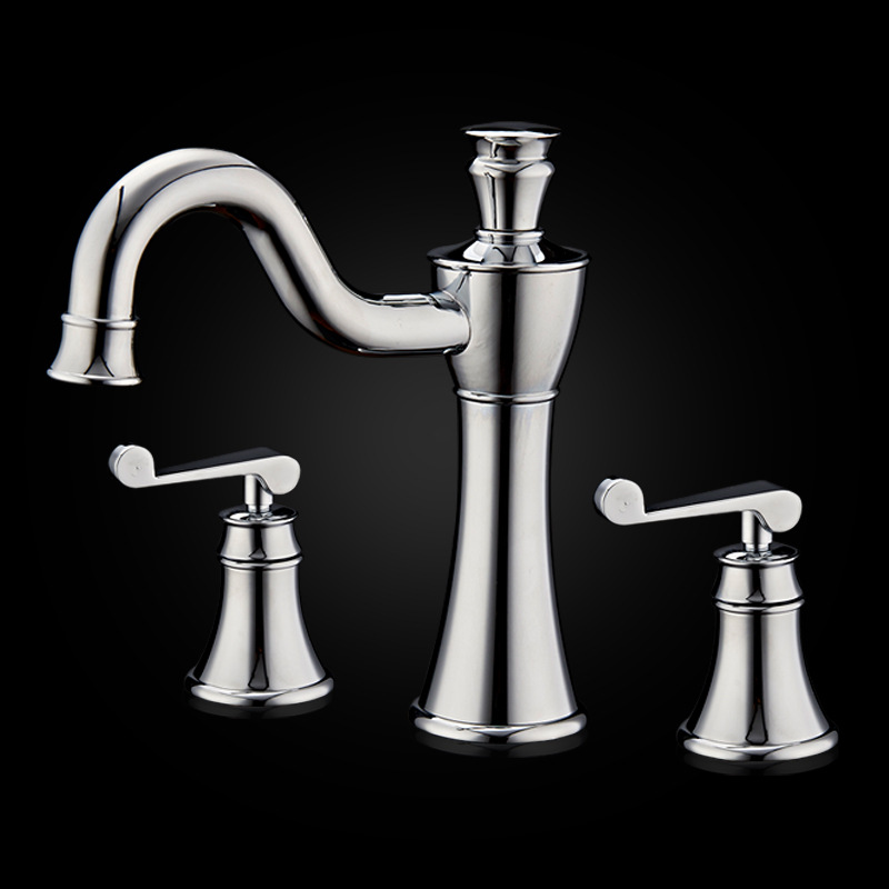 Brass Chrome 8 Widespread Bathroom Basin Faucet Mixer Double Handle Three Holes Luxury Artistic Basin Mixer Tap Basin Water TapBrass Chrome 8 Widespread Bathroom Basin Faucet Mixer Double Handle Three Holes Luxury Artistic Basin Mixer Tap Basin Water Tap