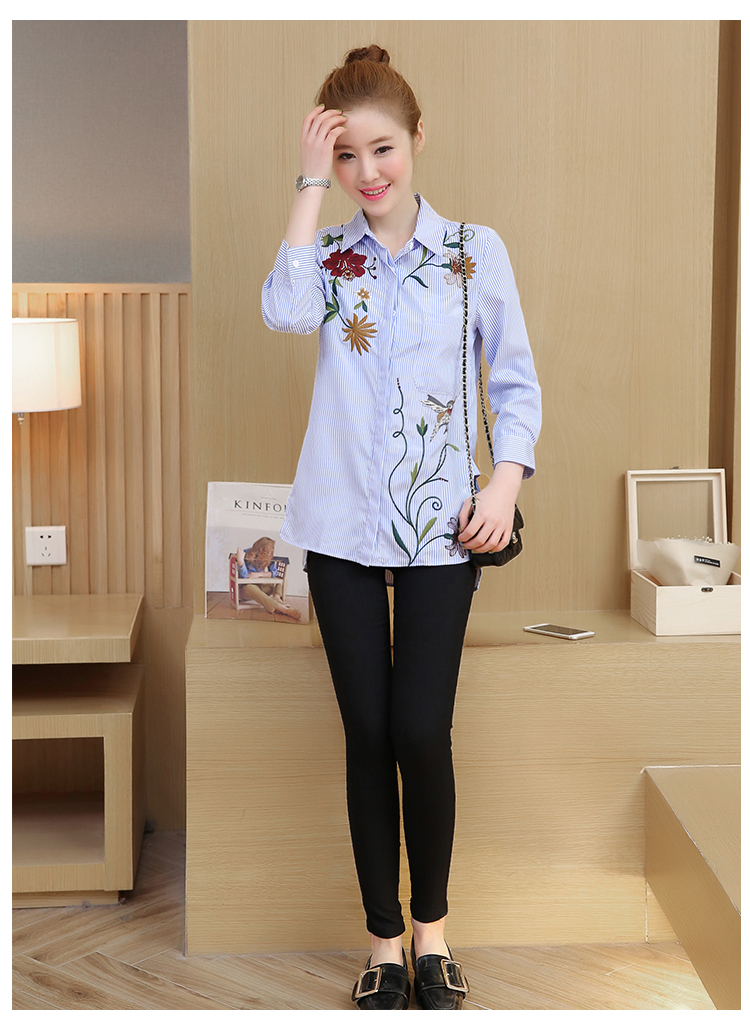 1768a1cf7c ... WAEOLSA Woman Pinstriped Shirt Flower Embroidery Blouses Womens  Business Casual Tops Office Lady Chic Shirts Girls ...