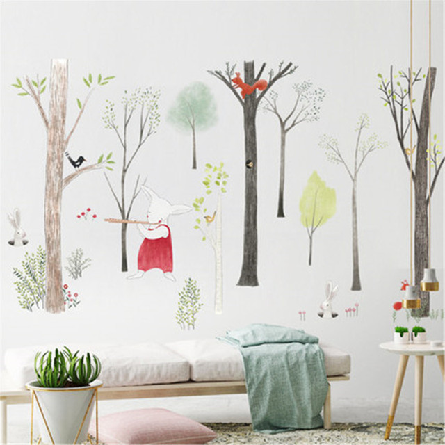 Nordic style large forest cartoon animal wall stickers illustration children room dormitory decoration stickers 87 * 140cm