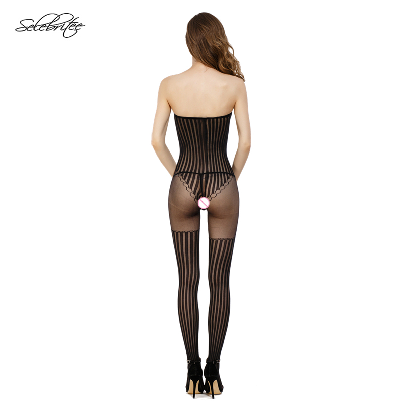 Selebritee Sexy Bodystocking Hollow Out Open Crotch Bodysuits Stripe Tube Body Suit for Ladies Transparent Underwear Lingerie