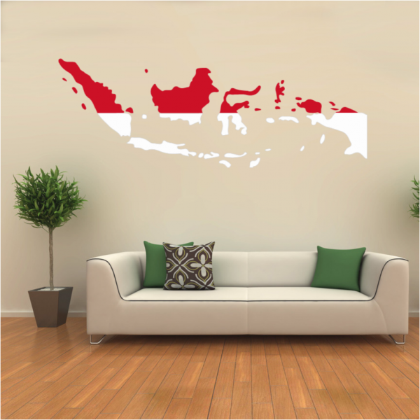 Flag map of indonesia wall vinyl sticker pattern custom home decor wedding pvc wallpaper art design