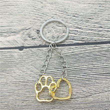 Hollow Pet Paw Footprint Keychain Shellhard Cute Animal Dog Cat Love Heart Pendant Keychain For Women Girls Jewelry Keychain