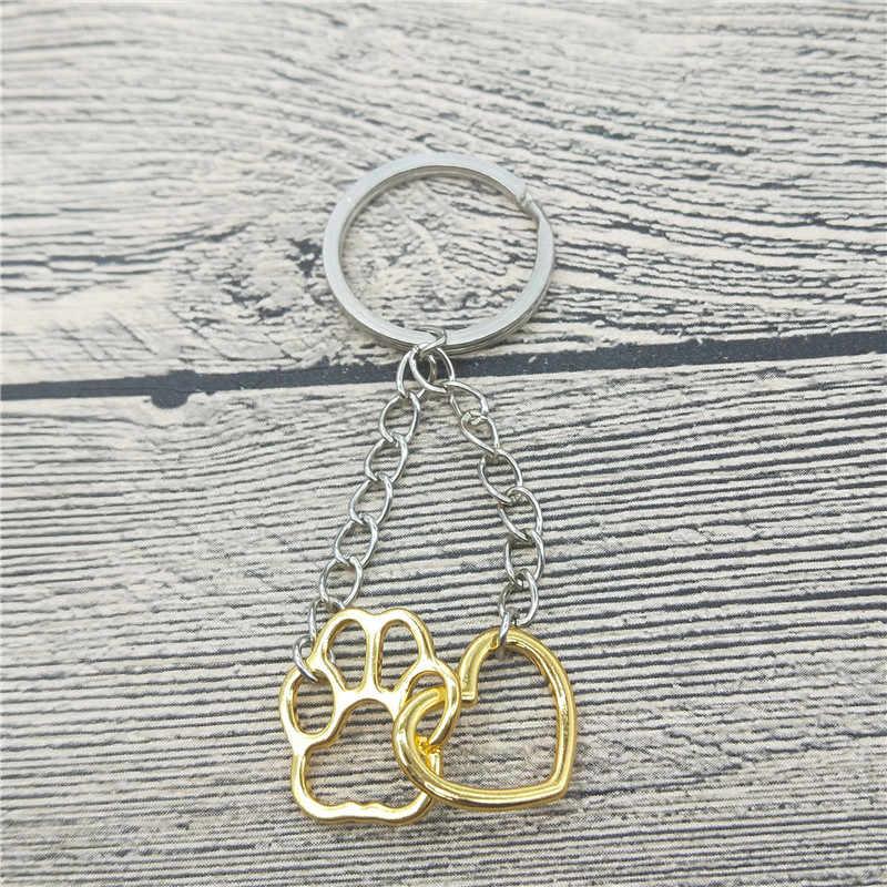 Полые Pet Paw след брелок Shellhard милые животные собака кошка, любовь, сердце подвеска брелок для Для женщин девочек Jewelry брелок