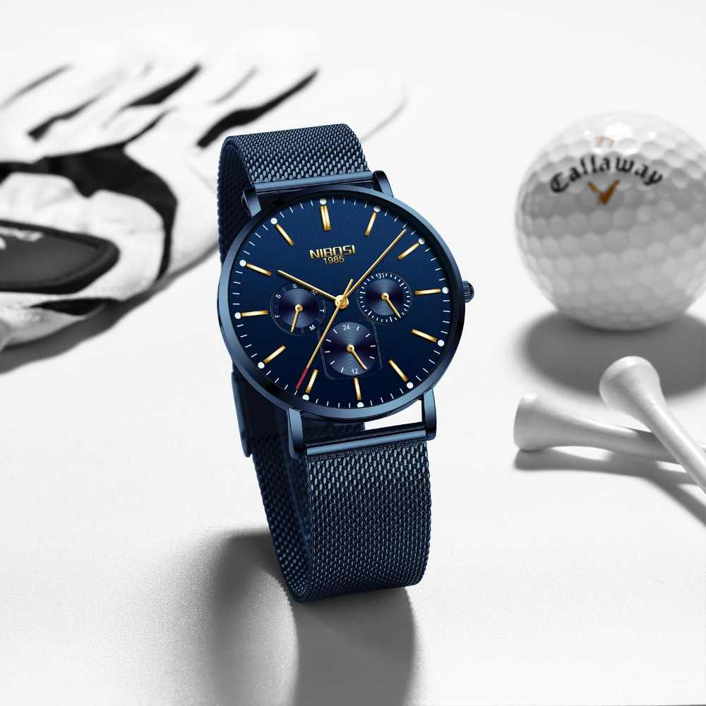 NIBOSI Ultra דק גברים של שעונים למעלה מותג יוקרה שעון גברים ספורט קוורץ נירוסטה רשת רצועת חיוג שעון Relogio masculino