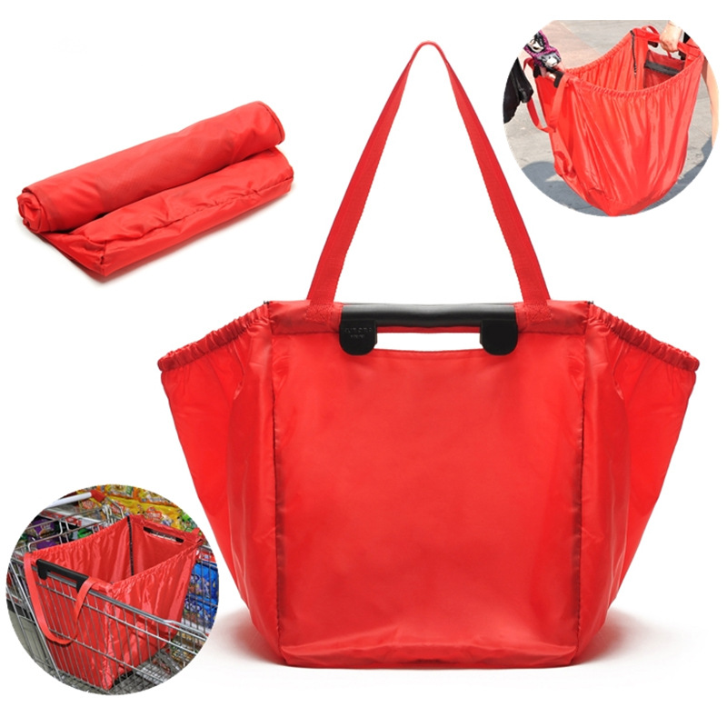 1pcs Storage Bag Foldable Tote Handbag Reusable Trolley Clip