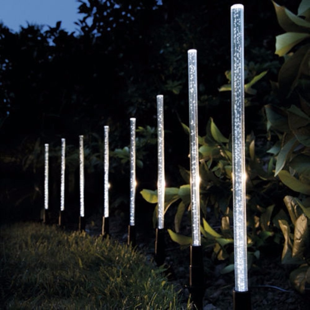 8 Pack Whites Solar Tube Lights Solar Acrylic Bubble Pathway Decoration Garden Stick Stake Light Set