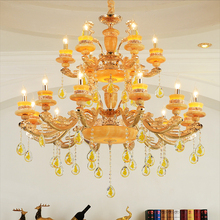 Zinc alloy jade luxury crystal chandelier compound building stairs long chandelier hotel sales center modern LED crystal lights