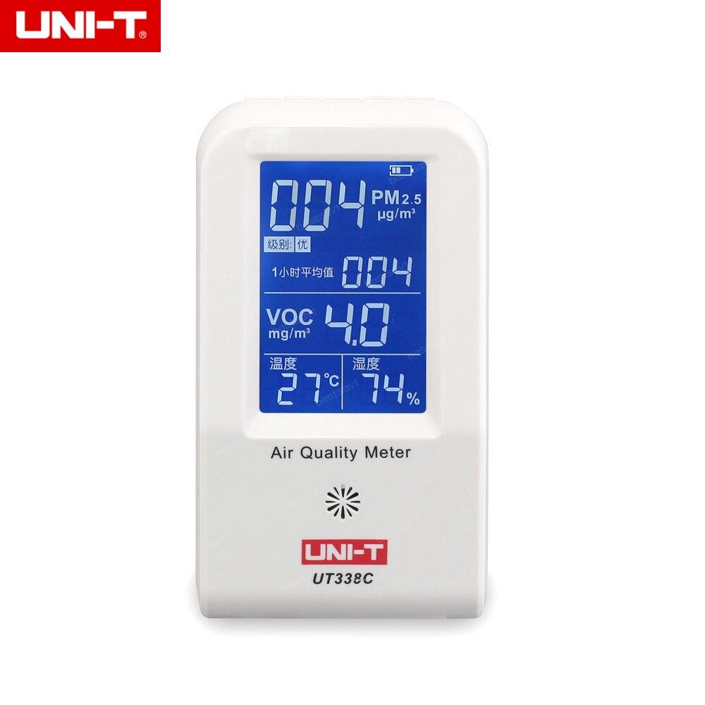 Aletler'ten Gaz Analizörleri'de UNI T UT338C 7 in 1 VOC formaldehit dedektörü PM2.5 hava kalitesi izleme test cihazı toz pus Sıcaklık Nem Nem Ölçer title=