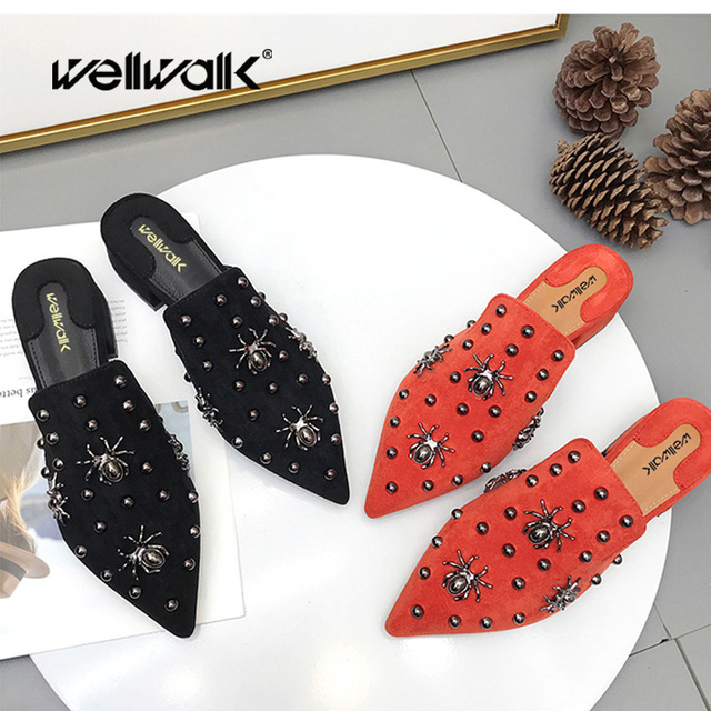Fashion Shoes Women Slippers Pointed Toe Flat Women Shoes Ladies Mules Spider Decoration Heel Shoes Female Slippers