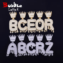 Custom Crown Bail Drip Initials Bubble Letters Chain Necklaces & Pendant For Men Women Gold Color Cubic Zircon Hip Hop Jewelry(China)