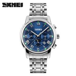 Для мужчин повседневные часы Лидирующий бренд SKMEI Полный нержавеющая сталь аналоговый Дисплей модные для мужчин Спорт