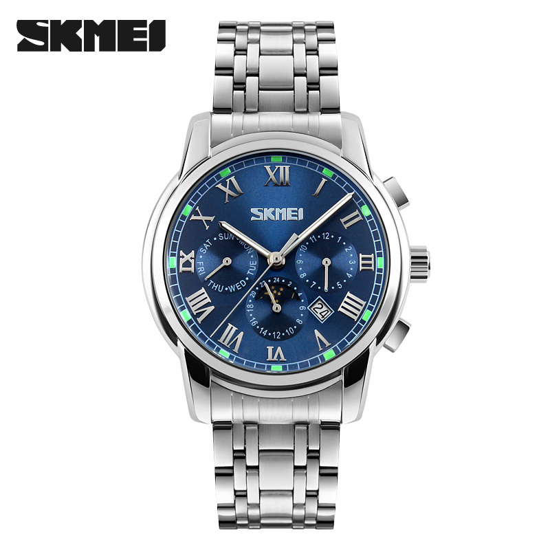 Men Quartz Watches Top Brand SKMEI Full Stainless Steel Analog Display Fashion Men's Sport Casual Watch Waterproof Man Watches
