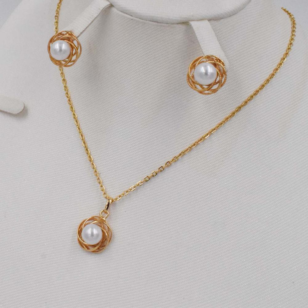 New High Quality Fashion Dubai Jewelry Pearl Set Gold Color