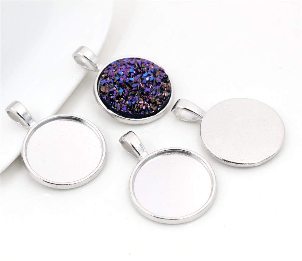 10pcs 20mm Inner Size Rhodium Colors Plated Classic Style Cabochon Base Setting Charms Pendant (D7-48)10pcs 20mm Inner Size Rhodium Colors Plated Classic Style Cabochon Base Setting Charms Pendant (D7-48)