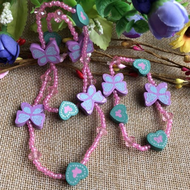 fashion pink plastic necklace kids jewellery child bracelet set purple Candy color butterfly wood heart beads as accessory