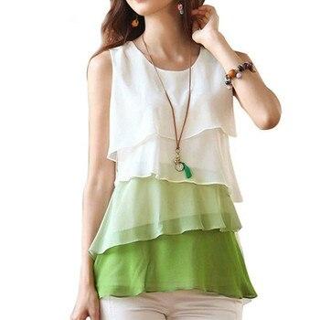 e91a05ec085b0e3 Модная новая многослойная цветная рубашка на заказ женская летняя рубашка  без рукавов дешевая шифоновая рубашка большого размера TE65