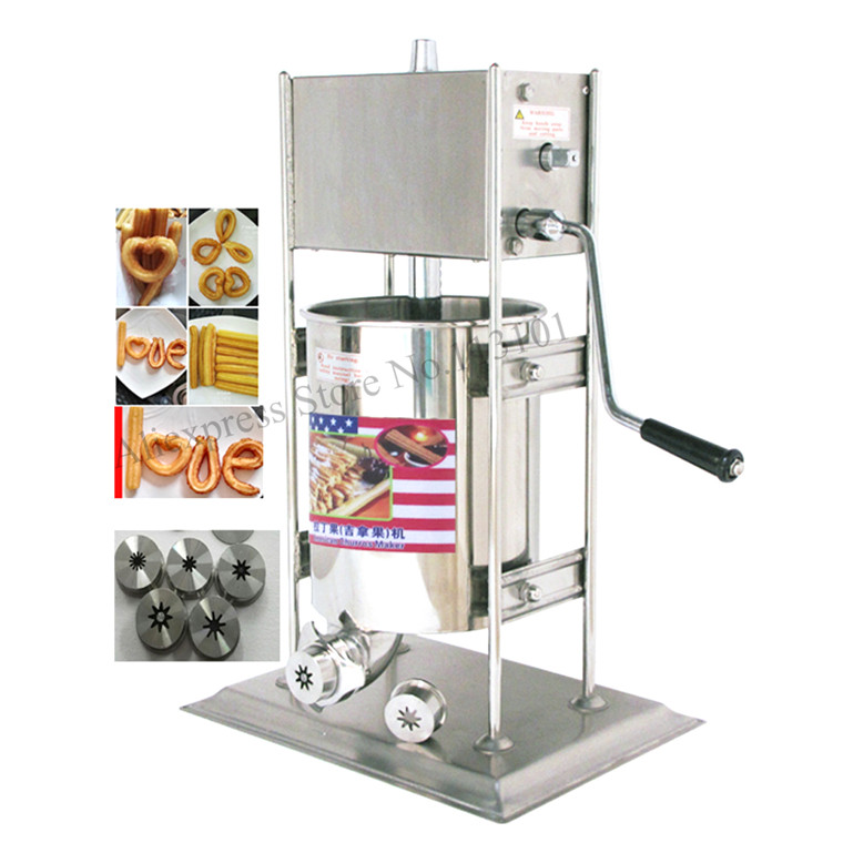 Upright type deluxe stainless steel 10L Spanish Churro Machine hand-operated Commercial Churros Maker Capacity 10 Liters churro display warmer deluxe stainless steel churro showcase machine with heat food warmer and oil filter tray