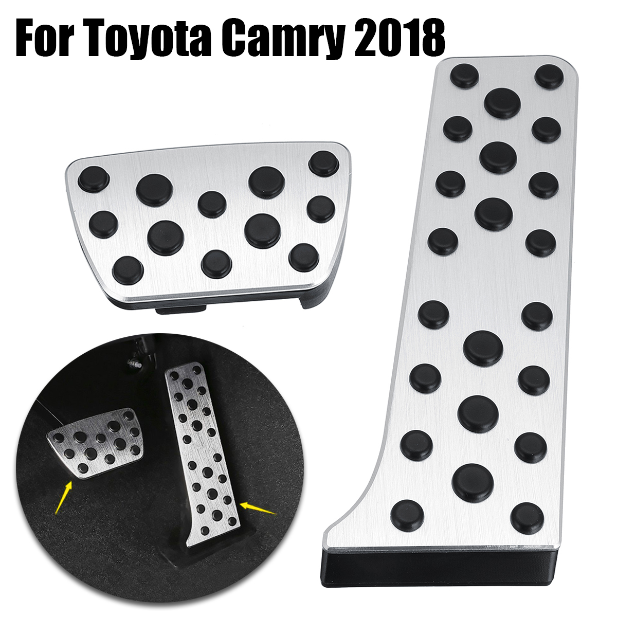 Autoleader Pair Interior Accelerator Pedal trim for Toyota Camry 2018 Silver Black Pedal Cover Interior Parts Auto Replacement