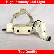 Lente di ingrandimento medica HA CONDOTTO LA lampada della fascia regolabile formato ad alta intensità di luce di alimentazione ENT dentale prodotto di ingrandimento chirurgico faro