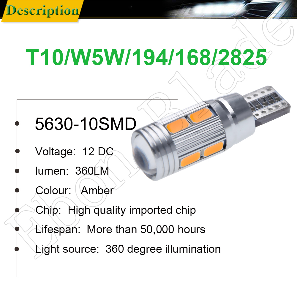 Image 2 - 2/4 Pcs T10 W5W 194 168 Car LED Light 5630 10SMD Canbus Error Free Auto Interior Side Turn Bulb Lamp Amber Yellow Oragne 12V DC-in Signal Lamp from Automobiles & Motorcycles