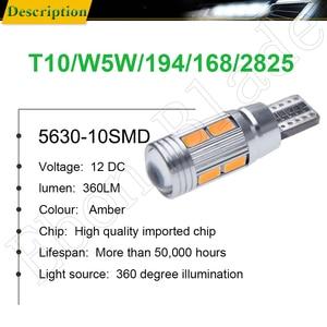 Image 2 - 2/4 Pcs T10 W5W 194 168 Car LED Light 5630 10SMD Canbus Error Free Auto Interior Side Turn Bulb Lamp Amber Yellow Oragne 12V DC