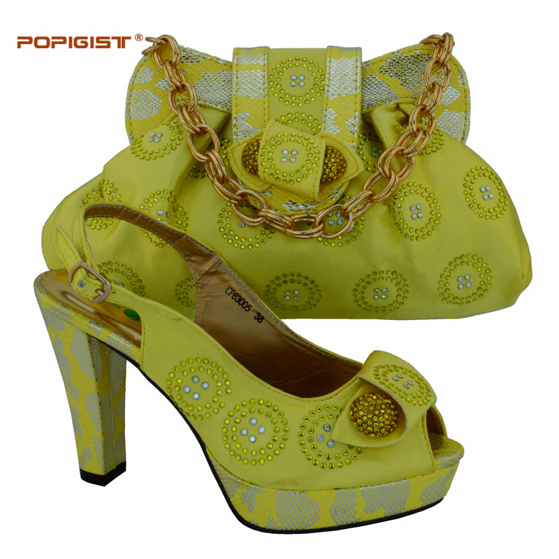 Aliexpress.com  Buy Yellow Women Wear Pumps Shoe And Bag To Match Set For Party Italian Womenu0026#39;s ...