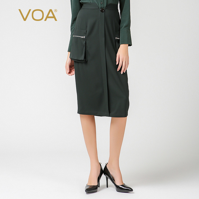 68e90516a9c VOA 2018 Spring Summer New Simple Army Green Plus Size Women Pencil Skirt  Heavy Silk Brief Solid High Waist Midi Skirt C7505