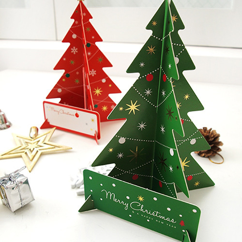 2Pcs/Set 3D Christmas Tree Greeting Card Postcards Handmade Card Birthday Thanksgiving Greeting Card