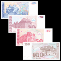 Macedonian Full Set 4 PCS(10,20,50,100 Dinar), P 9~12, Banknotes, UNC, Collection, Gift, Europe, Original Paper Notes